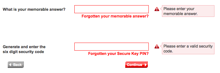 HSBC warning messages